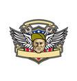 american crew chief shield mascot vector image vector image