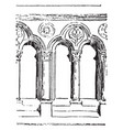 balustrade early gothic vintage engraving vector image vector image