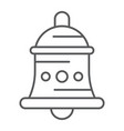 bell thin line icon alarm and ring handbell sign vector image