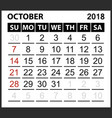 calendar sheet october 2018 vector image vector image