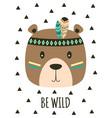 card with tribal cartoon bear vector image