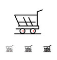 cart trolley shopping buy bold and thin black vector image