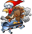 cartoon an christmas thanksgiving turkey vector image