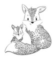cartoon family of foxes a stylized fox with a fox vector image vector image