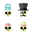 cartoon human skull flat icon set four vector image vector image