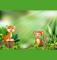 cartoon of the nature scene with a baby leopard si vector image vector image