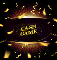 cash game gold frame banner vector image vector image