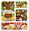 casino posters wheel fortune poker cards vector image
