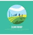 Clean energy Sun and wind power generation vector image vector image