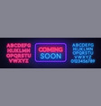 coming soon neon sign on brick wall background vector image vector image
