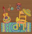 cultural symbols of mexico traditional interior vector image vector image