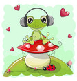 cute cartoon frog with headphones vector image