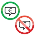 Euro message permission signs vector image vector image