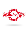 exclusive offer label red color isolated on vector image vector image