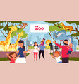 family in zoo smiling cartoon kids walking vector image vector image