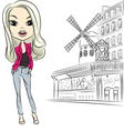 fashion girl near Moulin Rouge in Paris vector image vector image