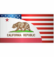 flag of usa and california state vector image