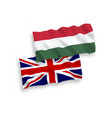 flags of hungary and great britain on a white vector image vector image