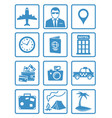 flat travel icons set vector image