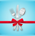 fork spoon knife with red vector image