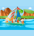 four kids sailing boat in river vector image