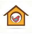 funny bird in feeder vector image
