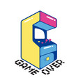 game over game machine white background ima vector image