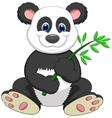 giant panda cartoon eating bamboo