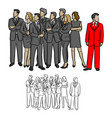 group of business people looking on the right vector image vector image