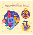 Happy birthday badges icons vector image vector image