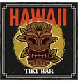 hawaiian tiki mask and leafs colored vector image