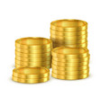 heap 3d coins or heap realistic golden money vector image vector image
