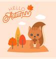 hello autumn hand lettering font headline vector image