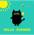 hello summer black cat holding ice cream yellow vector image vector image