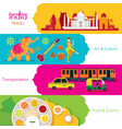 india travel banner set vector image vector image