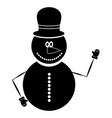 isolated snowman silhouette vector image