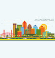 jacksonville florida skyline with color buildings vector image vector image