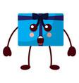 kawaii gift present surprise expression cartoon vector image