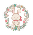 little rabbit with wreath flowers easter character vector image