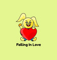 logo falling in love simple mascot style vector image