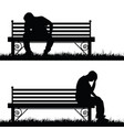 man silhouette sitting and thinking in park vector image