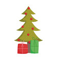 merry christmas tree with balls and gift boxes vector image