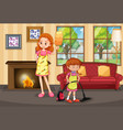 mother and daughter cleaning house vector image vector image