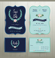 Navy Blue Wedding Invitation Card vector image vector image