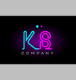 neon lights alphabet ks k s letter logo icon vector image