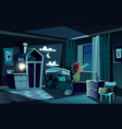 night room boy watching by spyglass vector image vector image