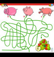 paths maze game with pigs and apples vector image vector image