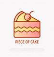 piece cake with berry thin line icon vector image