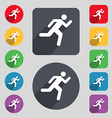 running man icon sign A set of 12 colored buttons vector image vector image