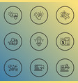 seo icons line style set with network protection vector image vector image